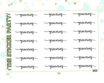 Groceries Script Stickers Groceries Headers