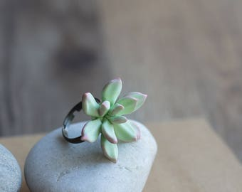 Small succulent ring - terrarium ring - succulent jewelry - green botanical ring - nature jewelry - eco friendly jewelry - porcelain jewelry