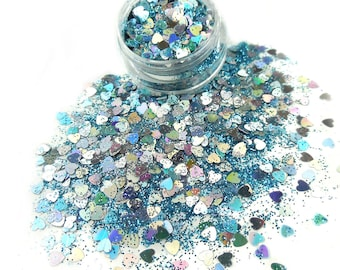 Blue Mermaid Mix Glitters For Face & Body | Festival And Party Chunky Glitter | Beauty Makeup Accessories Holiday Birthday | Face Jewels