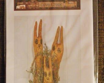 Primitive Rabbit Family Printed Pattern, Rabbit Patterns, Spring Craft Patterns