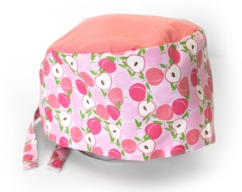 Hat fabric pattern peach pink color and over plain coral