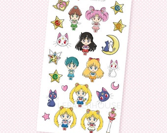 Sailor Moon Stickers - Kawaii Chibi Sailor Moon planner stickers, EC stickers, Personal Planners