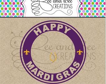Instant Download: Mardi Gras Starbucks Cup Ring SVG & PNG / Mardi Gras Beads / Starbucks Ring