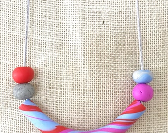 Pink and blue tube handmade polymer clay vegan necklace on 60cm polyester cord with breakaway clasp