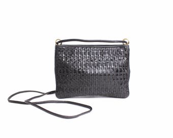 Vintage Woven Leather Purse | Soft Black Patent and Smooth Leather Shoulder Bag | Small Woven Leather and Grosgrain Ribbon Crossbody Bag