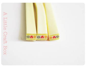 3 miniature canes in polymer clay - fruitcake