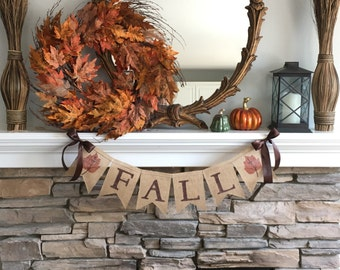 Fall Burlap Banner~Fall Sign~Fall Decor~Fall Garland~Fall Sign~Welcome Fall Banner~Thanksgiving Decoration~Thanksgiving sign