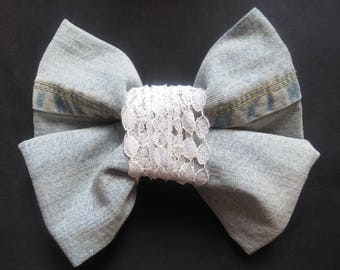 Large giant hair bow Vintage 60s 70 fabric handmade item recycled fabric retro Denim white Lace unique USA Barrette Hair accessory