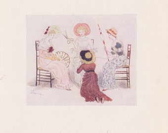 Vintage Kate Greenaway Book Plate Art Print - Before the Fates 1883