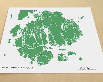 Mount Desert Island Map, Hand-Drawn Map Print of Acadia National Park