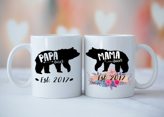 Mama Bear Papa Bear SET OF 2 Mugs, Baby Shower Mug, Gift for Expecting Parents, Baby Announcement, Baby Shower, Mama Bear Papa Bear Mug Set