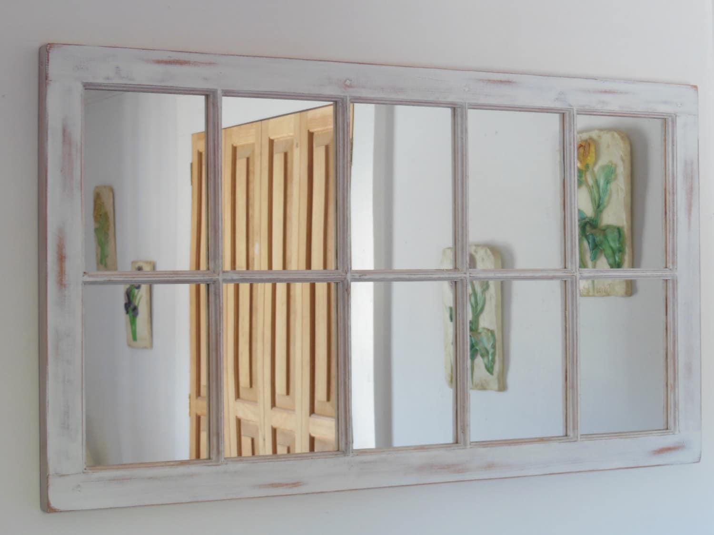 White distressed framed mirror window mirror window pane zoom jeuxipadfo Images