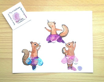 Pink, purple, blue, squirrels, ballet dance, watercolor illustration, print, wall decor, nursery decor, baby shower gift, tutu, doilies