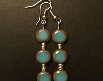 Tres Chic Turquoise Dangle Earrings