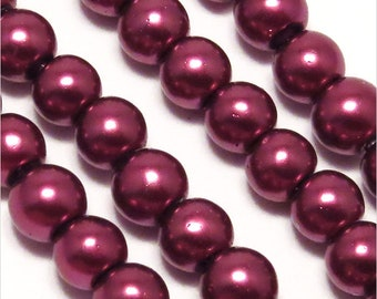Lot 100 Pearly beads 4 mm plum purple Czech glass