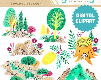 FOREST SCENERY Digital Clipart Instant Download Illustration Watercolor Camping Woods Forest Trees Nature Wilderness Park Mountains River
