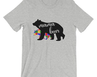 Mama Bear T-Shirt - Supporting Autism