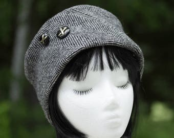 Womens Winter Hat in Herringbone Wool | Black White Pillbox Cloche w/ Buttons | Winter Hat in Jackie O! Kate Style | 1950s Mid-century Style