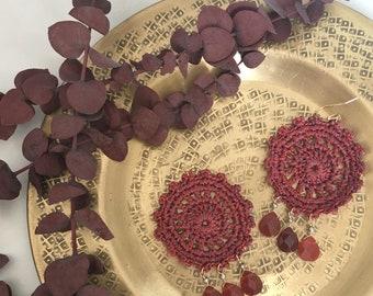 Rust handmade crochet statement earrings, carnelian semi-precious