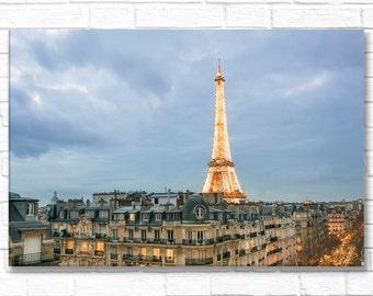 Paris Photograph on Canvas - Eiffel Tower at Twilight, Gallery Wrapped Canvas, Large Wall Art, Urban Architecture Decor