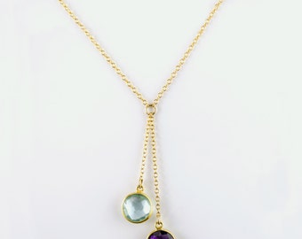 Custom birthstone necklace, Lariat style Necklace, Mothers Necklace kids birthstones, custom necklace, sisters necklace, birthstone jewelry