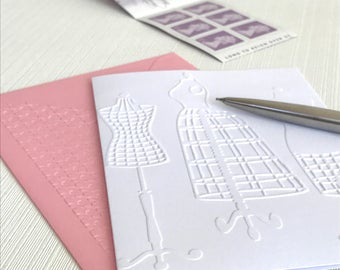 Dressmaker Dummies Cards (No.48) - Pack of 6 Embossed White Blank Note Cards. Gift for Sewers. Seamstress. Haberdashery. Sewing. Stationery