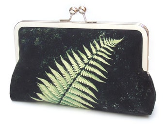 Green and black fern clutch bag, silk purse, bracken frond, woodland wedding, bridesmaid gift