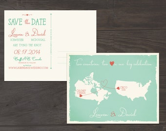 Destination wedding Mint Green Coral Two Countries Two Hearts One big celebration Save the Date Postcard USA canada DEPOSIT PAYMENT