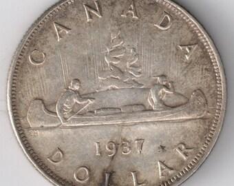1937 CANADA Silver Dollar Coin VF+ One Dollar