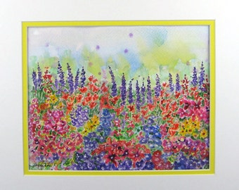 "SALE Impressionist Watercolor""Garden Wish"" by pattysgardenstudio"