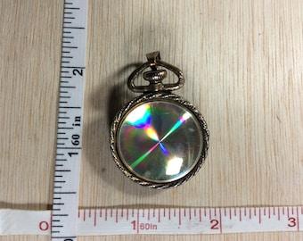 Vintage Goldtone Iridescent Disk Pendant Pin Brooch Used
