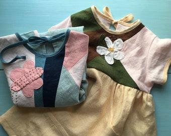 Custom embellished linen dress with pocket