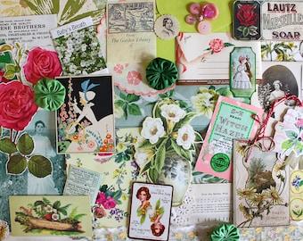 Garden Gate*Flower Inspiration Kit*Vintage Paper Ephemera Pack*Spring Garden Junk Journal Scrapbook Collage Supplies