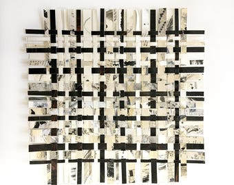 Crossword Weaving- 12x12- Mixed Media- Abstract Art- Woven Paper- Woven Decor- Puzzles- Black White, Beige, Grey