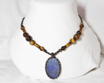 Lapis lazuli pyrite pendant necklace Tiger eye beads