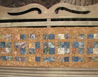 Quilts for Sale - Table Runner - Brown and Blue Batik Runner
