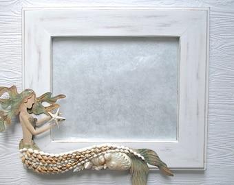 Nautical Mermaid/Shell Mirror, Distressed White