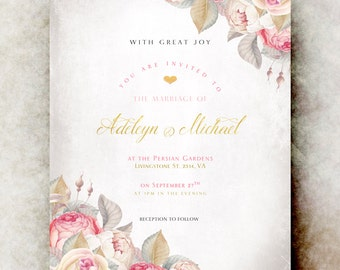 Wedding Invitation - wedding invitation set, elegant wedding invitation, printable wedding invitation, gold blush wedding
