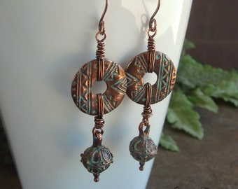 Copper Earrings, Greek Patina Discs, Bali Style Beads, Tribal Earrings, Wire Wrapped Earrings, Turquoise Patina, Boho Earrings