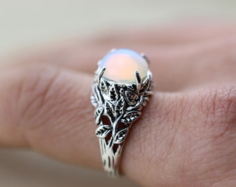 Leaf Ring With Opal Ring Autumn Jewelry C312R-1_S