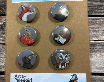 "Pieces of Flair - The Woodland Creatures 1"" magnets, set of 6"