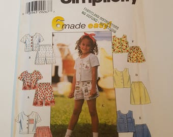 Vintage Simplicity 6 Made Easy Sewing Pattern 7616 Child's Top and Shorts in size 5, 6, 6X