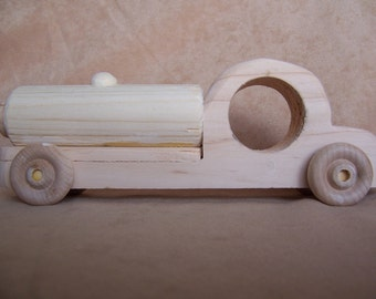 Toy Oil Tanker Truck Handcrafted from Recycled Wood for the Kids, Boys and Girls