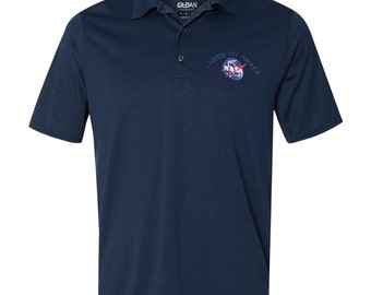 Mens Nasa I NEED MY SPACE Meatball Embroidered Poly Jersey Sport Shirt - Multi Color/Sizes