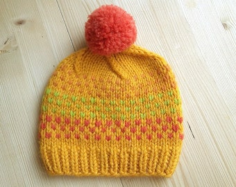 Pom Pom Baby Hat, Hand Knitted Kids Hat, Yelow Knit Baby Hat, Orange Pom Baby Todler, Wool  Kids Hat, Fair Isle Baby Hat, Children/Kids/Baby