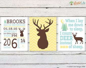DEER NURSERY, Deer Nursery Decor, Woodlands Nursery, Birth Stats, Baby Stats, Personalized Baby, Boy Nursery, New Baby Gift, Nursery Art