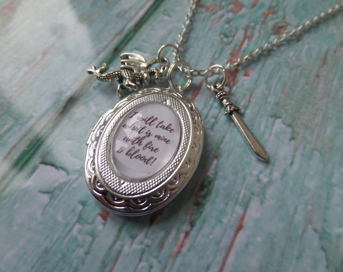 "GAME of THRONES inspired oval glass dome "" I will take what is mine with fire & blood "" silver locket necklace"