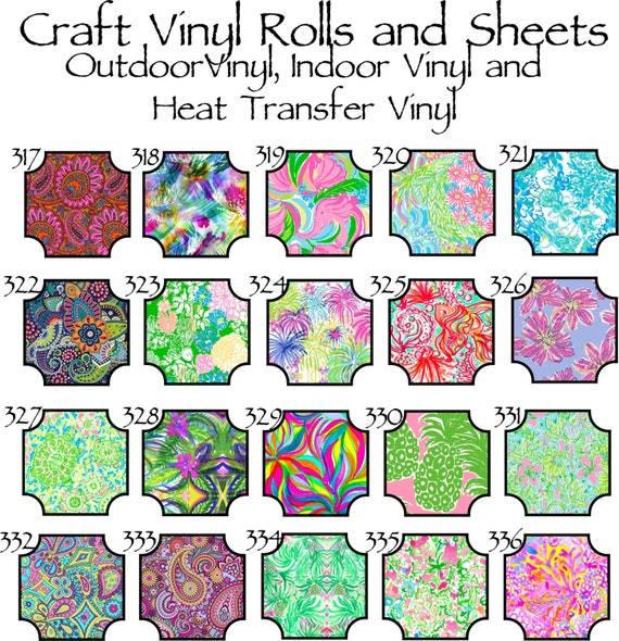 Beautiful, Vibrant Patterned Craft Vinyl and Heat Transfer Patterns 317-336