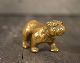Miniature bulldog in brass toy