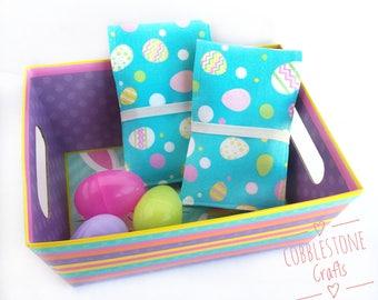 Crayon Notepad Holder Small - Blue Easter Eggs- Toddler Coloring, Kids Art Supplies, Crayon Holder, Crayon Notebook, Easter Basket
